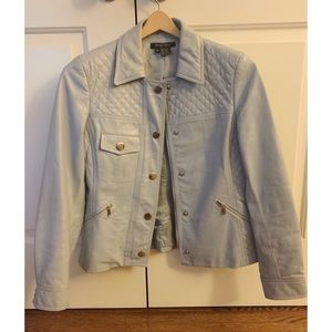 Etcetera Light Blue Quilted Leather Jacket